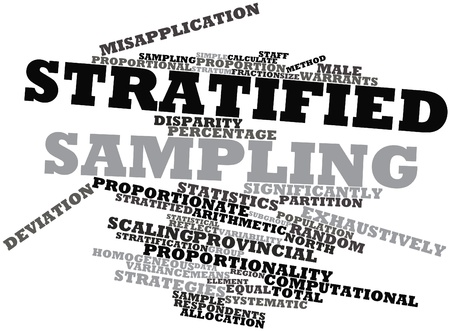 size distribution: Abstract word cloud for Stratified sampling with related tags and terms Stock Photo