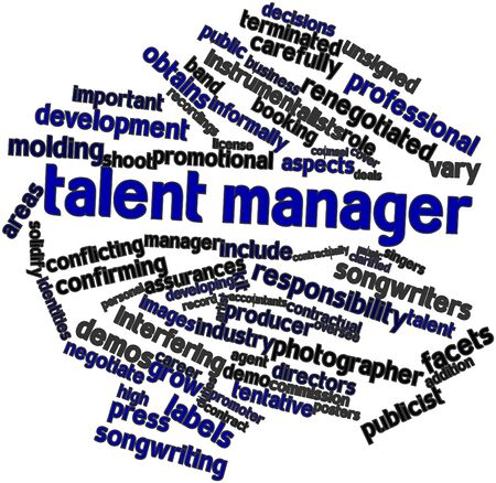 Abstract word cloud for Talent manager with related tags and terms