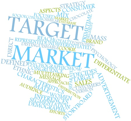 proposed: Abstract word cloud for Target market with related tags and terms Stock Photo