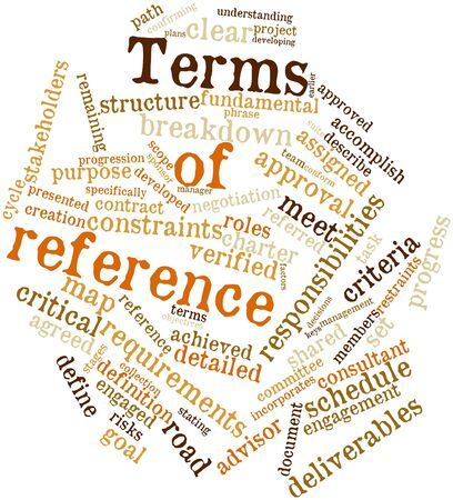 project charter: Abstract word cloud for Terms of reference with related tags and terms Stock Photo
