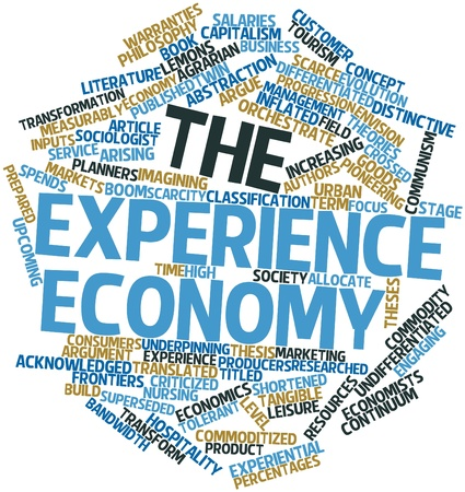 superseded: Abstract word cloud for The Experience Economy with related tags and terms Stock Photo