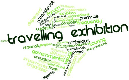 dispersed: Abstract word cloud for Travelling exhibition with related tags and terms