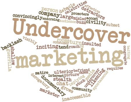 perceive: Word cloud astratto per commercializzazione Undercover con tag correlati e termini