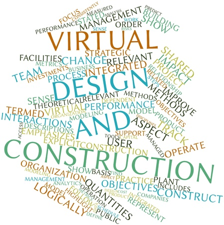 quantities: Abstract word cloud for Virtual design and construction with related tags and terms