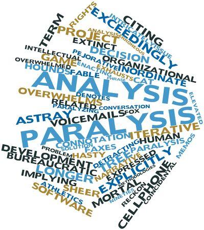 arbol de problemas: Nube palabra abstracta para la parálisis de análisis con las etiquetas y términos relacionados