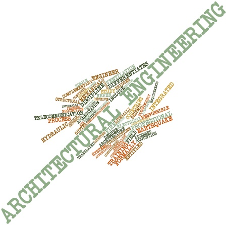 synonymous: Abstract word cloud for Architectural engineering with related tags and terms Stock Photo