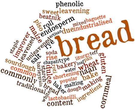 sweetened: Abstract word cloud for Bread with related tags and terms Stock Photo