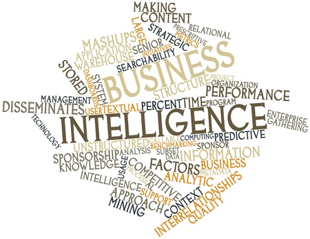throughput: Abstract word cloud for Business intelligence with related tags and terms Stock Photo