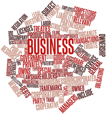incurred: Abstract word cloud for Business with related tags and terms Stock Photo