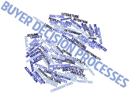 Abstract word cloud for Buyer decision processes with related tags and terms Stock Photo - 16042298