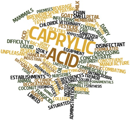 emptying: Abstract word cloud for Caprylic acid with related tags and terms