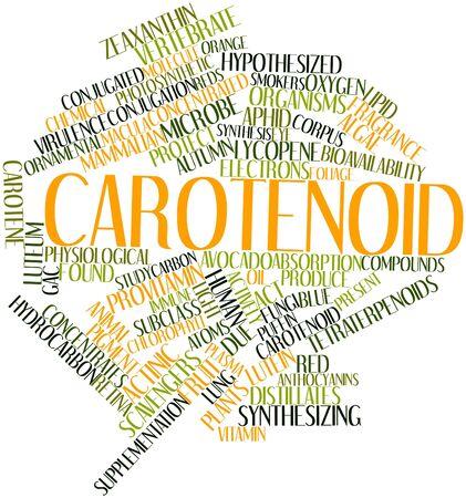 carotenoid: Nube palabra abstracta para carotenoides con las etiquetas y t�rminos relacionados