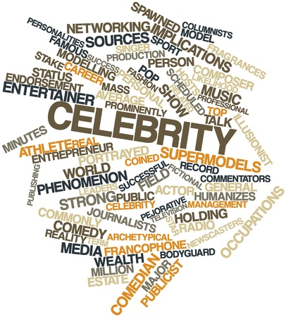 commentators: Abstract word cloud for Celebrity with related tags and terms