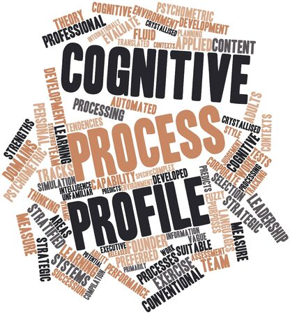 contexts: Abstract word cloud for Cognitive Process Profile with related tags and terms