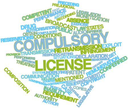 equitable: Abstract word cloud for Compulsory license with related tags and terms Stock Photo