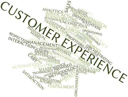 customer focus: Abstract word cloud for Customer experience with related tags and terms Stock Photo