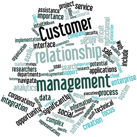 customer focus: Abstract word cloud for Customer relationship management with related tags and terms