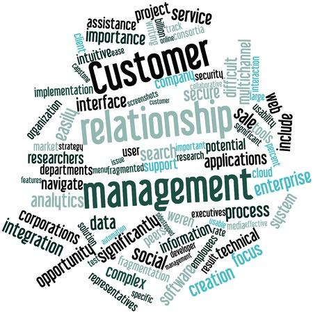 relation clients: Nuage de mot abstrait pour la gestion de la relation client avec des �tiquettes et des termes connexes