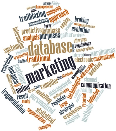 overcrowding: Abstract word cloud for Database marketing with related tags and terms
