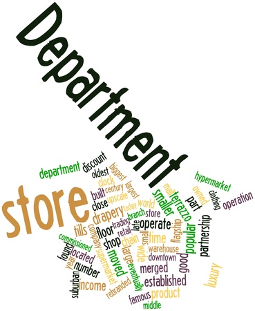 neighbouring: Abstract word cloud for Department store with related tags and terms Stock Photo