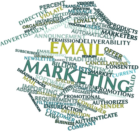 unsolicited: Abstract word cloud for Email marketing with related tags and terms