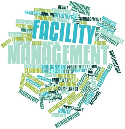 Abstract word cloud for Facility management with related tags and terms Stock Photo