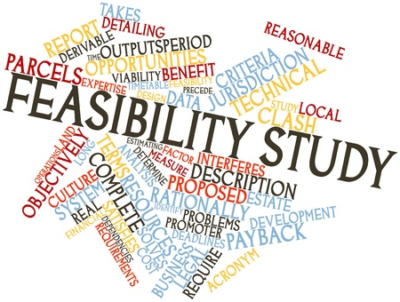 feasibility: Abstract word cloud for Feasibility study with related tags and terms Stock Photo