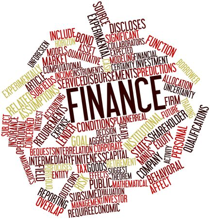 assumptions: Abstract word cloud for Finance with related tags and terms
