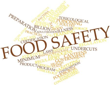 hygi�ne alimentaire: Nuage de mots abstraits pour la s�curit� alimentaire avec des �tiquettes et des termes connexes