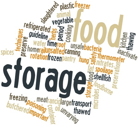 irradiated: Abstract word cloud for Food storage with related tags and terms Stock Photo