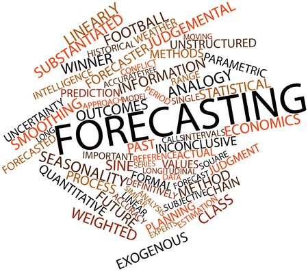 seasonality: Abstract word cloud for Forecasting with related tags and terms Stock Photo
