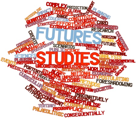 pedagogical: Abstract word cloud for Futures studies with related tags and terms