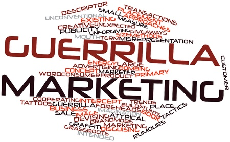 guerrilla: Abstract word cloud for Guerrilla marketing with related tags and terms