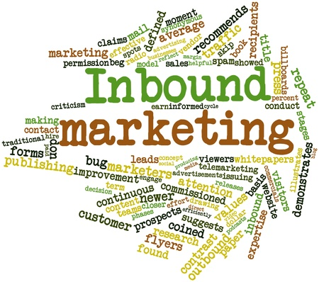 inbound: Abstract word cloud for Inbound marketing with related tags and terms