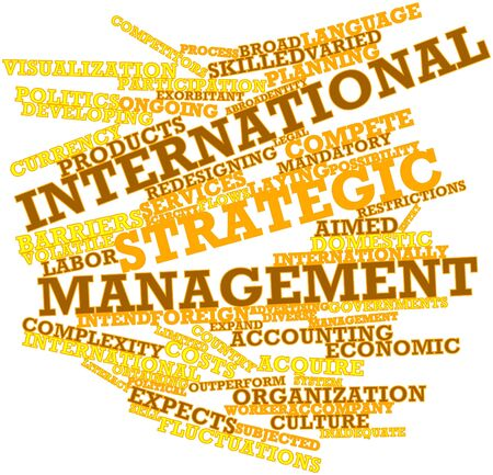 importantly: Abstract word cloud for International strategic management with related tags and terms