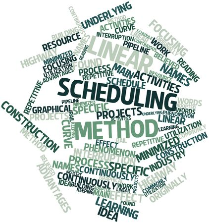 continuously: Abstract word cloud for Linear scheduling method with related tags and terms Stock Photo