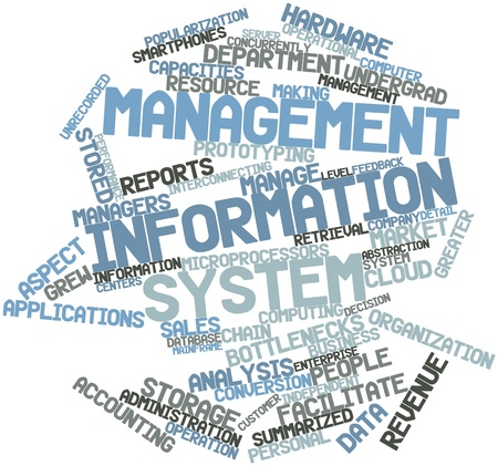 Abstract word cloud for Management information system with related tags and terms photo
