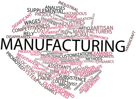 labor policy: Abstract word cloud for Manufacturing with related tags and terms Stock Photo