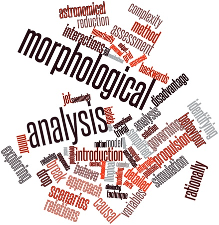 illogical: Abstract word cloud for Morphological analysis with related tags and terms Stock Photo