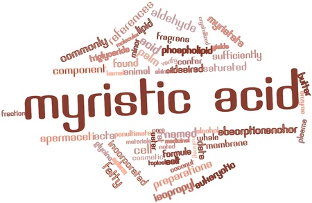 Abstract word cloud for Myristic acid with related tags and terms Stock Photo - 16042219