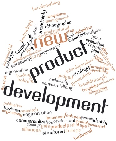 interdependent: Abstract word cloud for New product development with related tags and terms