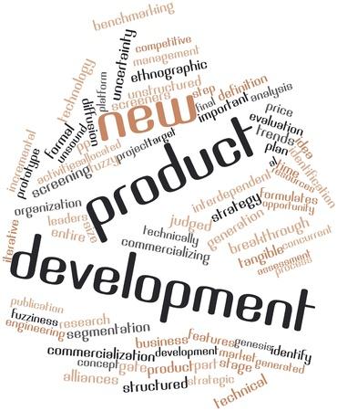 id: Nuage de mot abstrait pour le d�veloppement de nouveaux produits avec des �tiquettes et des termes connexes Banque d'images