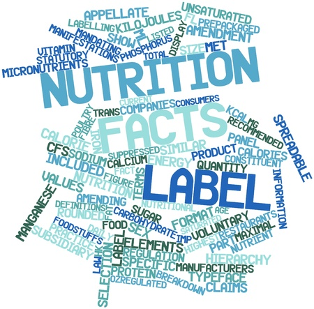 Abstract word cloud for Nutrition facts label with related tags and terms Stock Photo - 16047742