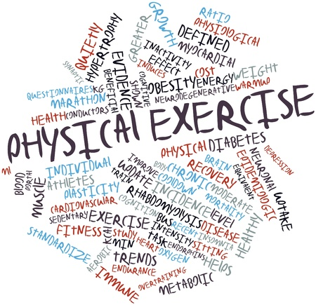 equivalent: Abstract word cloud for Physical exercise with related tags and terms Stock Photo