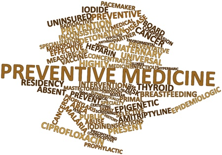 pacemaker: Abstract word cloud for Preventive medicine with related tags and terms Stock Photo