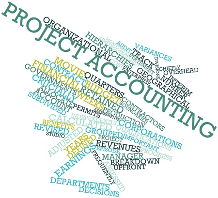 assessments: Abstract word cloud for Project accounting with related tags and terms Stock Photo