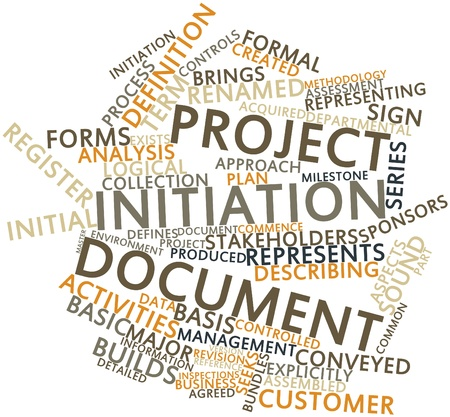Abstract word cloud for Project initiation document with related tags and terms Stock Photo - 16042279