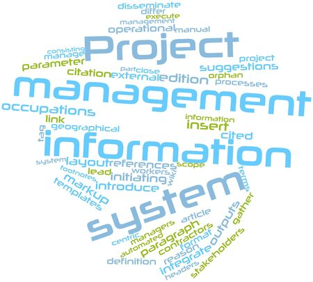 Abstract word cloud for Project management information system with related tags and terms Stock Photo