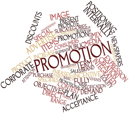 promotional: Abstract word cloud for Promotion with related tags and terms