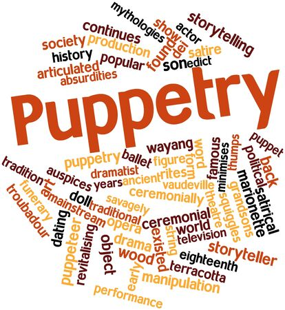 derives: Abstract word cloud for Puppetry with related tags and terms Stock Photo